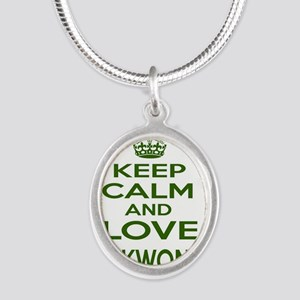 Keep calm and love Taekwondo Silver Oval Necklace