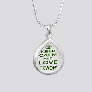Keep calm and love Taekw Silver Teardrop Necklace