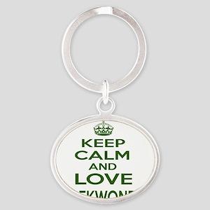 Keep calm and love Taekwondo Oval Keychain
