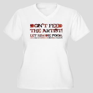 POOR ARTIST Women's Plus Size V-Neck T-Shirt