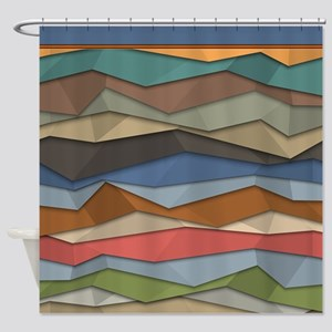 Folded Paper Muted Earth Tone Chevrons Shower Curt
