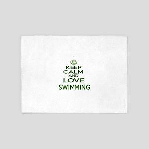 Keep calm and love Swimming 5'x7'Area Rug