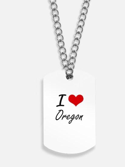 I Love Oregon Artistic Design Dog Tags