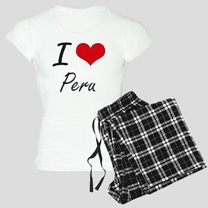 I Love Peru Artistic Design Women's Light Pajamas