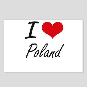 I Love Poland Artistic De Postcards (Package of 8)