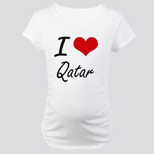 I Love Qatar Artistic Design Maternity T-Shirt