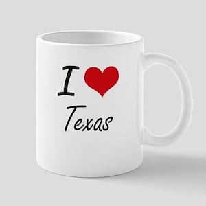 I Love Texas Artistic Design Mugs