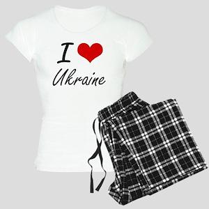 I Love Ukraine Artistic Des Women's Light Pajamas