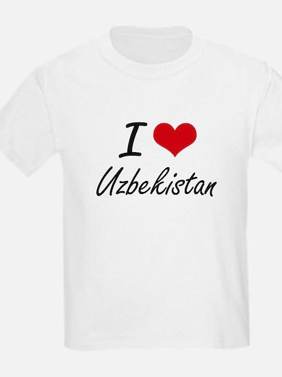 I Love Uzbekistan Artistic Design T-Shirt