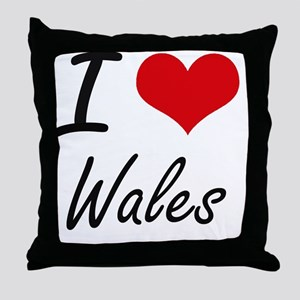 I Love Wales Artistic Design Throw Pillow