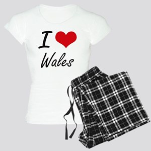 I Love Wales Artistic Desig Women's Light Pajamas