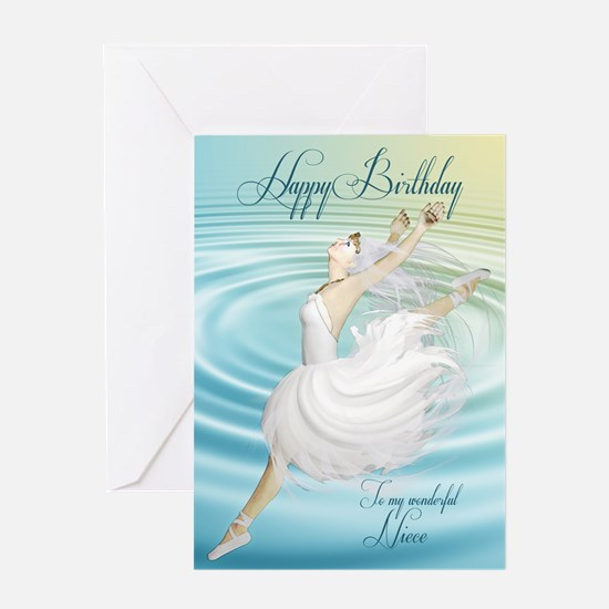 Niece, Leaping ballerina birthday card. Greeting C