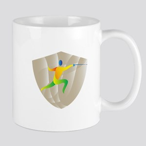 Fencing Side Shield Retro Mugs
