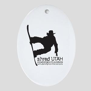Utah Snowboarding Oval Ornament