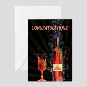 U.S. Citizen congratulations with splashing wine G