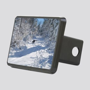 Black Lab Winter Journey Rectangular Hitch Cover