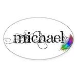 Michael Scipt + Feather Sticker (Oval 10 pk)