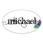 Michael Scipt + Feather Sticker (Oval 50 pk)