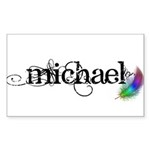 Michael Scipt + Feather Sticker (Rectangle 10 pk)
