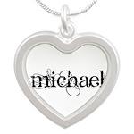 Michael Script + Feather Silver Heart Necklace