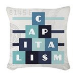 Capitalism Woven Throw Pillow