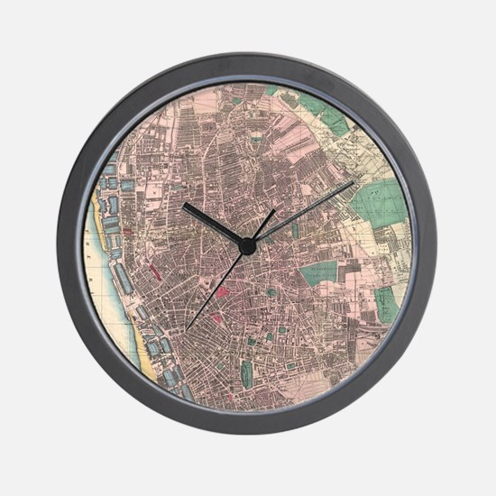 Vintage Map of Liverpool England (1890) Wall Clock