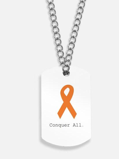 Conquer All. Orange Rib Dog Tags