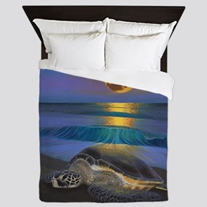 Sea Turtle Full Moon Queen Duvet