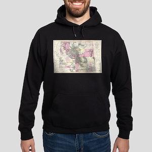 Vintage Map of Montana, Wyoming and Hoodie (dark)