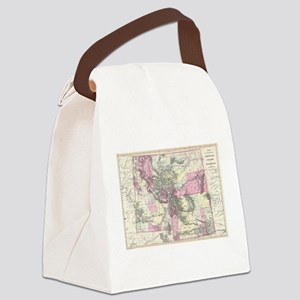 Vintage Map of Montana, Wyoming a Canvas Lunch Bag