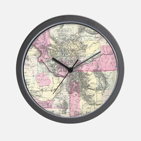 Vintage Map of Montana, Wyoming and Ida Wall Clock