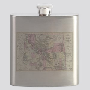 Vintage Map of Montana, Wyoming and Idaho (1 Flask