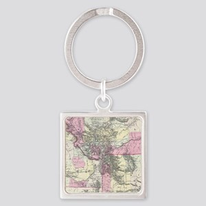 Vintage Map of Montana, Wyoming Keychains