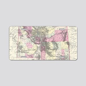 Vintage Map of Montana, Wyo Aluminum License Plate