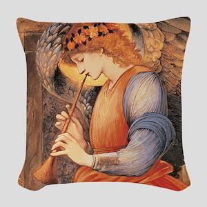 An Angel Playing a Flageolet Woven Throw Pillow
