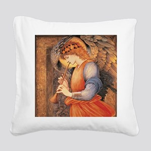 An Angel Playing a Flageolet Square Canvas Pillow