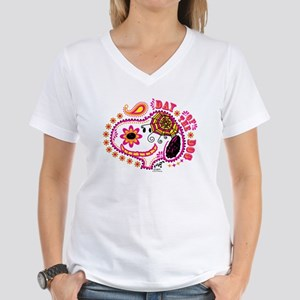Day of the Dog Snoopy Face Women's V-Neck T-Shirt