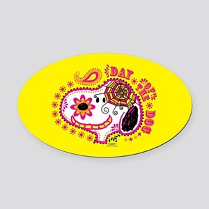Day of the Dog Snoopy Face Oval Car Magnet