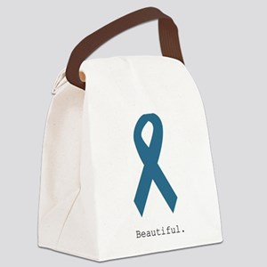 Beautiful. Teal Ribbon Canvas Lunch Bag