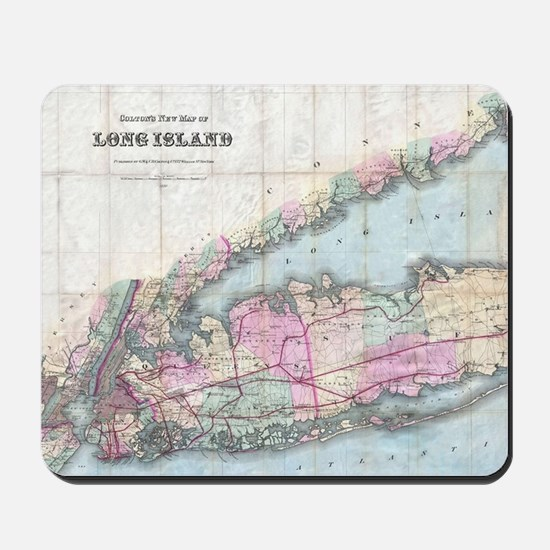 Vintage Map of Long Island (1880) Mousepad