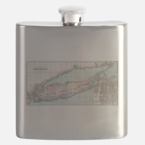 Vintage Map of Long Island (1880) Flask