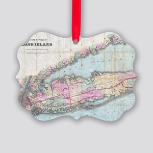 Vintage Map of Long Island (1880) Picture Ornament