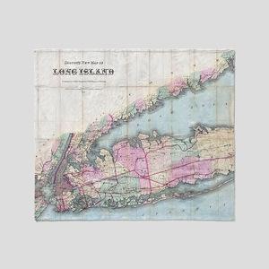Vintage Map of Long Island (1880) Throw Blanket