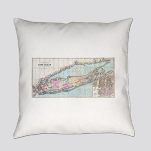 Vintage Map of Long Island (1880) Everyday Pillow