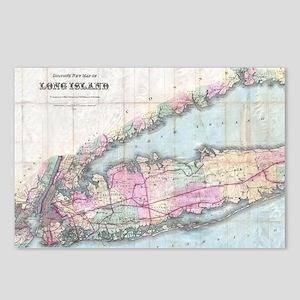 Vintage Map of Long Islan Postcards (Package of 8)