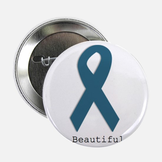 """Beautiful. Teal Ribbon 2.25"""" Button (10 pack)"""