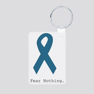 Fear Nothing. Teal Rib Aluminum Photo Keychain