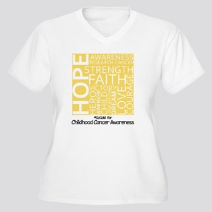 Childhood Cancer Women's Plus Size V-Neck T-Shirt