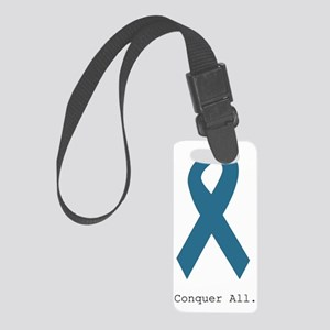 Conquer All. Teal Ribbon Small Luggage Tag