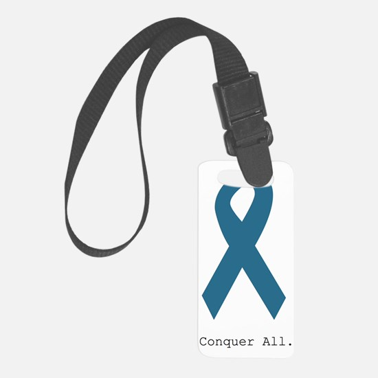 Conquer All. Teal Ribbon Luggage Tag